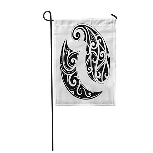 Semtomn Garden Flag Abstract Maori Ethnic Tattoo Black Curl Curves Hawaii Polynesian 12
