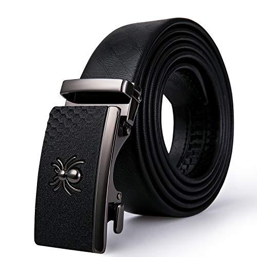 (Mens Slide Buckle Belt, Cowhide Belt Black Spider Automatic Buckle Anti-scratch Novelty Waist Strap Holeless Gift Box)