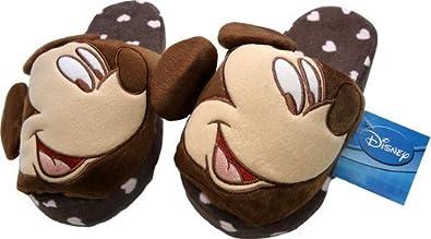 Disney Mickey Mouse Boys Girls Brown Slippers Soft Plush Stuffed ... 3369ff300a
