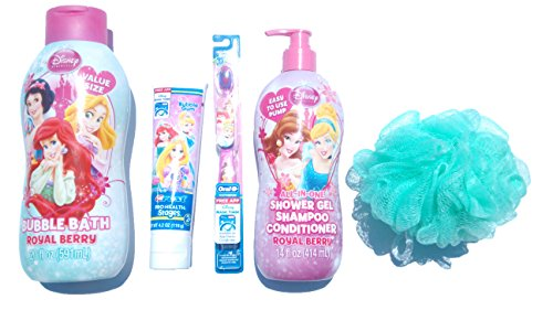Kids Bubble Bath Disney Princess Gift Set for Children- 20 Fl Oz Disney Princess Bubble Bath + 14 Fl Oz Disney Princess All-in-one Shower Gel + 4.2 Oz Disney Princess (Disney Bubble Bath)