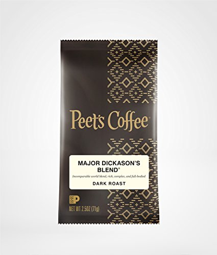 Peet's Coffee, Major Dickason's Blend, Ground Coffee, 2.5 oz. Fractional Packs (Pack of 18), Rich, Smooth, and Complex Dark Roast Coffee Blend, with A Full Bodied and Layered Flavor