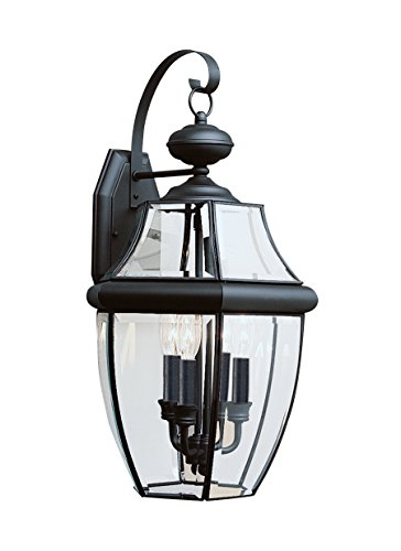 Sea Gull Lighting 8040-12 3-Light Lancaster Medium Outdoor Wall Lantern, Clear Beveled Glass and Black - 3 Light Beveled Glass
