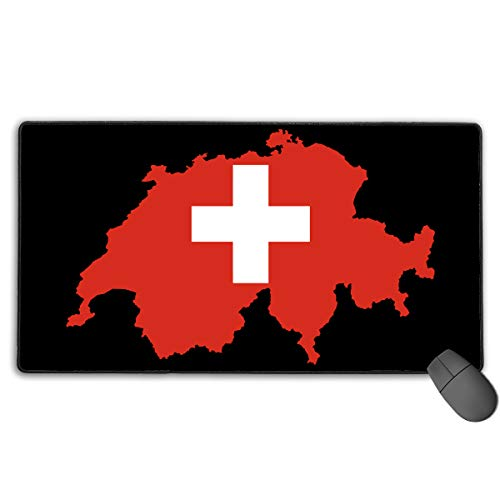 LNUO-2 Extended Large Gaming Mouse Pad/Mat, Flag Map of Switzerland Mousepad with Non-Slip Rubber Base for Computers Office & Home, Durable Stitched Edges]()