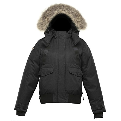 Triple F.A.T. Goose SAGA Collection | Norden Girls Hooded Goose Down Jacket Parka with Real Coyote Fur (8, Black) by Triple F.A.T. Goose
