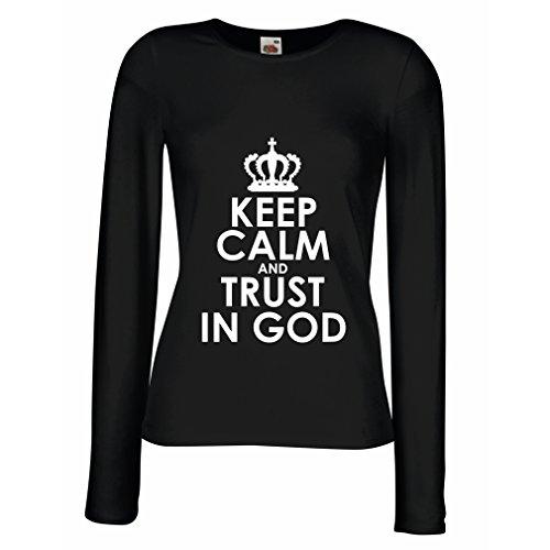 T Shirts For Women Long Sleeve Trust In God! Jesus Shirt Christian Gifts Jesus Christ Clothing (X-Large Black White)