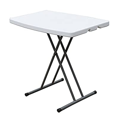 """DLAND 30"""" Camping Folding Table, Portable Desk Outdoor Picnic BHS-B76 - 【High Quality Material】: High density polyethylene (HDPE) Tabletop and frame are made of powder coated steel, it is waterproof and rust-proof, You can take it for outdoor activity use, stain resistant and easy to clean. 【Dimensions】: Open size: L29.9 x W19.7 x H21.3/24.4/29.1 inch (L76 x W50 x H54/62/74 cm); Folding size: L31.9 x W20.1 x H2.4 inch (L81 x W51 x H6 cm); Package weights about 11.5 lbs (5.2 kg); Maximum load capacity 220 lbs (100 kg); Suitable for 2-4 people. 【Elegant Design】: Gravity slide lock design assembles and folds up with ease, no assemble needed; Fits into an included lightweight carrying bag for easy carrying and storage; Round edge keeps you and your family from damage, beautiful frame lines, curved design, both beautiful and generous. - patio-tables, patio-furniture, patio - 41cxgYMMz%2BL. SS400  -"""