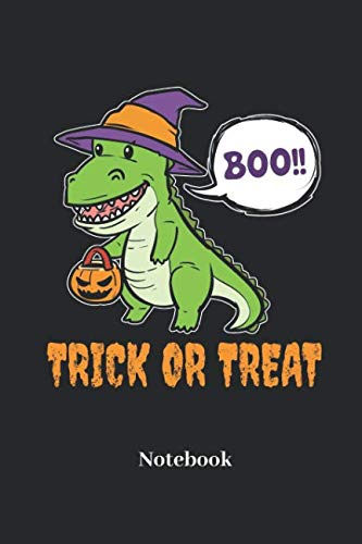 Trick Or Treat Notebook: Lined notebook for dinosaur,