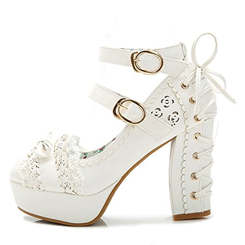 Japanese Style Sweet Bow Lace Princess Lolita Shoes Lace-up High Heel Buckle Strap Thick Platform Pumps White