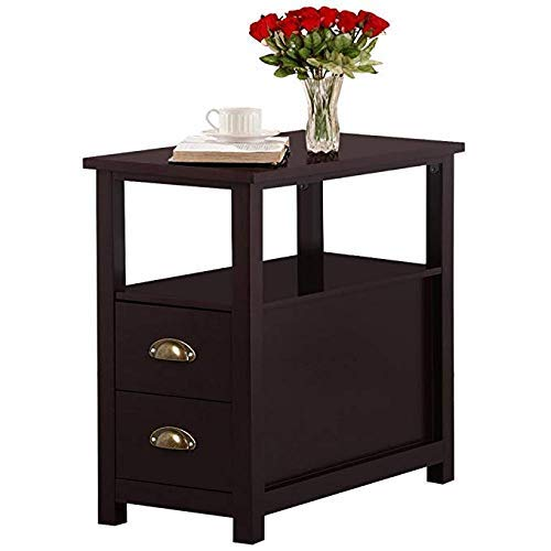 Wegi King Double-Tier Chairside End Table Sofa Side Narrow Table Night Stand with 2 Drawer, Classic Living Room Bedroom Furniture ()
