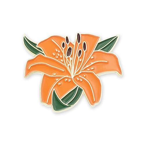 Tiger Lily Flower Enamel Lapel Pin- 1 Pin