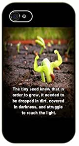 The tiny seed knew that in order to grow, it needed to be droped in dirt - Light - Bible verse iPhone 4/ 4s black plastic case / Christian Verses
