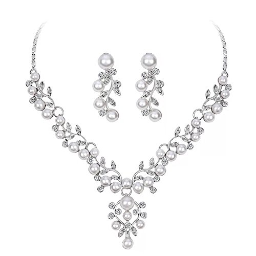 Lanzy Women's Grey Simulated Pearl Crystal Leaf Bridal Necklace Earrings Set Silver Tone