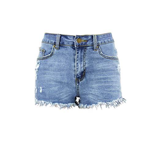 FEDULK Womens Mid Waist Jean Shorts Retro Frayed Raw Tassel Hemline Ripped Denim Short Pants Jeans