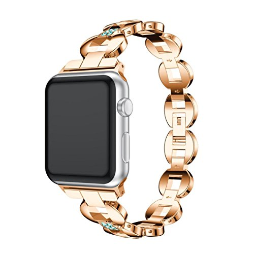 Price comparison product image Apple Watch Band with Case 42mm,  Boofab Stainless Steel Mesh Milanese Loop with Adjustable Magnetic Closure Replacement Wristband iWatch Band for Apple Watch Series 3 / 2 / 1 42mm (Rose Gold B)