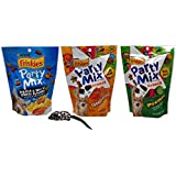 Friskies Party Mix Crunch Treats for Cats 3 Flavor Variety with Toy Bundle, (1) Each: Lobster Mac 'N Cheese, Cheesy Craze, Picnic (6 Ounces)