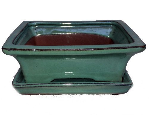 Ceramic Bonsai Pot/Saucer - Green - 6 1/8