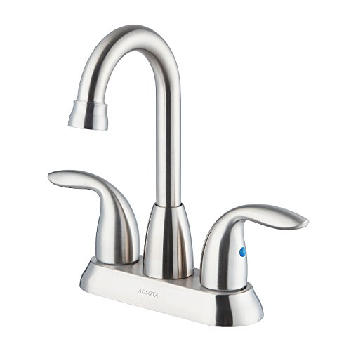 AOSGYA Bathroom Faucet Brushed Nickel - Two Handles 4 Inch Centerset Bathroom Sink Faucet for Lavatory Vanity Basin - cUPC Certified Lead-Free by AOSGYA