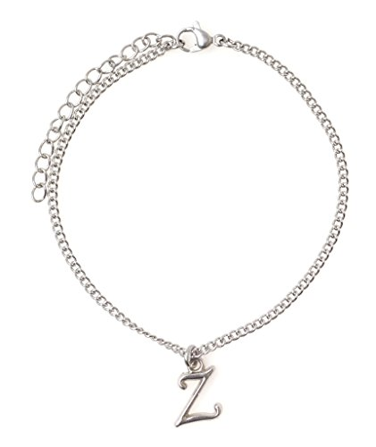 """It's All About...You! 7.5"""" - 9.5"""" Stainless Steel Ankle Bracelet with Alloy Initial Letter Z 50B"""