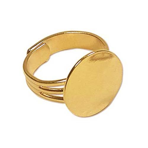 Beadaholique 4-Piece Adjustable Ring with 16mm Pad for Gluing, 22K Gold Plated Gold Ring Base