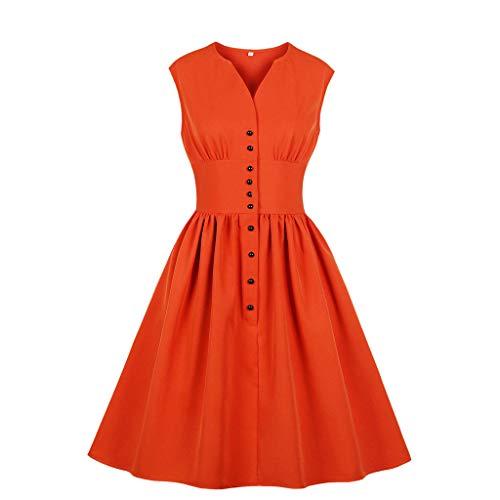 [해외]여성 민소매 V 넥 버튼 빈티지 이브닝 파티 스윙 / Women Sleeveless V-Neck Button Vintage Evening Party Swing