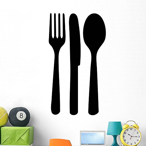 Leisure Accents Bistro - Wallmonkeys Cutlery Wall Decal Peel and Stick Business Graphics (48 in H x 27 in W) WM50555