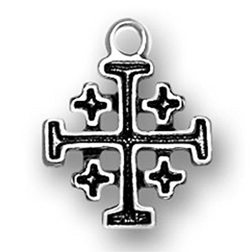 Sterling Silver Small Christian Crusaders Jerusalem Cross Religious Charm