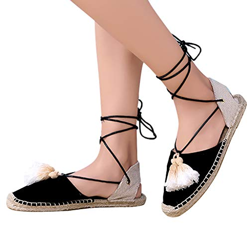 Leisuraly Flat Sandals for Women Women's Lace Up Sandals Fringed Tassel Shoes Ankle Ties Dress Sandals Black ()