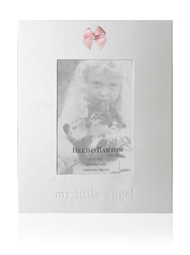 """Reed & Barton Silverplate Baby Gifts My Little Angel Photo Frame Pink Holds 3.5"""" X 5"""""""
