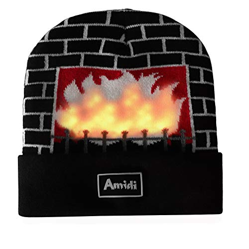 Unisex LED Knit Beanie Light Up Fireplace Winter Hat For Party Christmas Gift Black