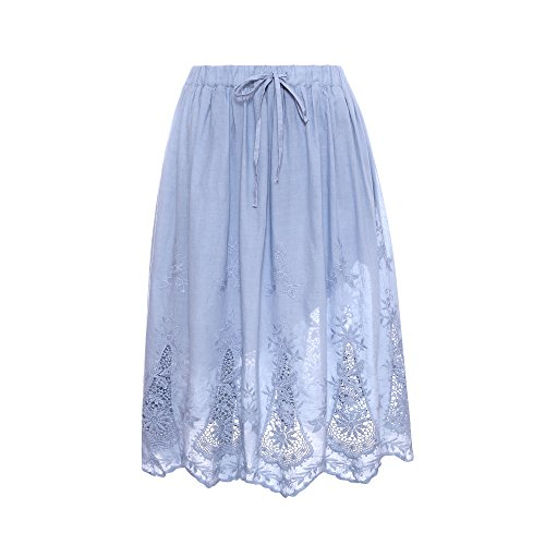 (Welove fashion Women's A-line Flared Embroidered Below Knee Length with Lining midi Skirt (S/M, Blue))
