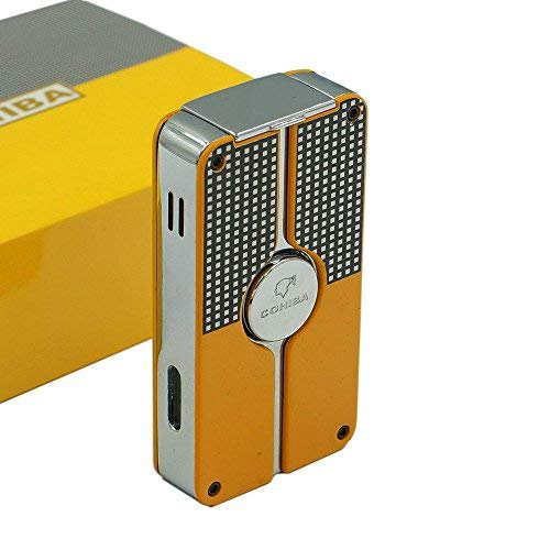 Flyingqin New Classic 3 Torch Jet Flame Cigar Lighter W/Punch New Design (Yellow)
