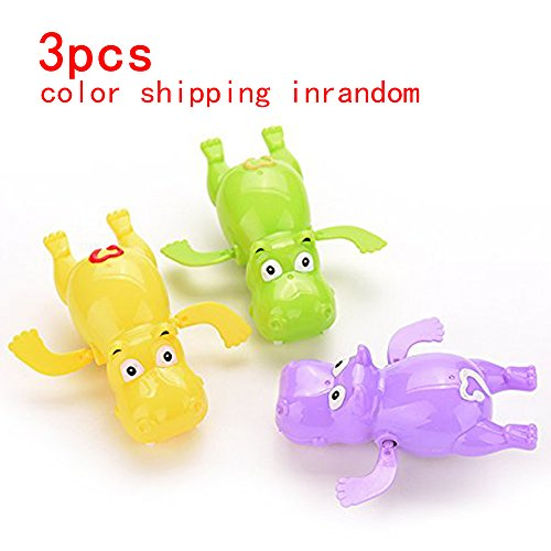 Cute Wind Up Hippo Toys Baby&Boys&Girls Bath Swimming Tub Pool Toy,Toddler Pool Bath Play Tools Hot Purple Yellow Green Shipping in Random