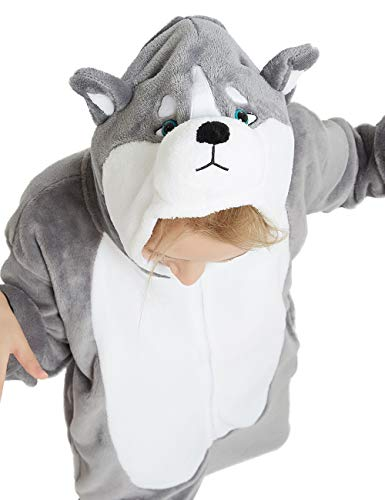 Animal Onesie Kids Unisex Onepiece Pajamas Halloween Cosplay Party Costume Loungewear Grey Puppy Dog - http://coolthings.us