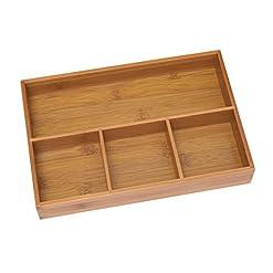 Kitchen Lipper International 824 Bamboo Wood 4-Compartment Organizer Tray, 11 5/8″ x 7 7/8″ x 1 3/4″ silverware organizers