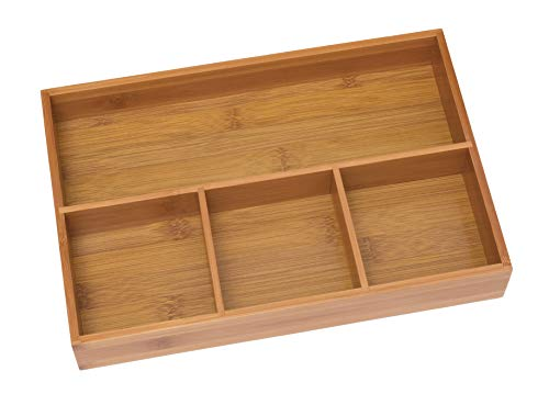 """Lipper International 824 Bamboo Wood 4-Compartment Organizer Tray"