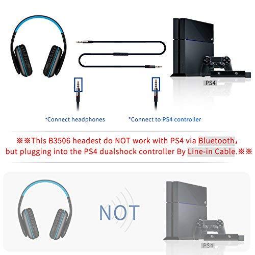 Bluetooth 4.1 Kopfhörer/Headset wireless faltbar Over Ear mit Mic-KOTION EACH B3506 |PC Handy PS4(inkl.Line-in Kabel)|Blau