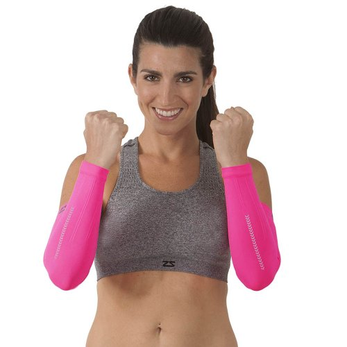 Zensah Reflect Compression Arm Sleeves, Neon Pink, Small/Medium (Warmers Pink Arm)