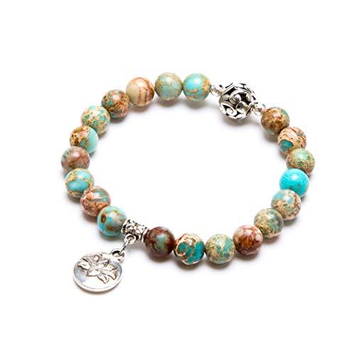 Bivei Natural Gemstone Bead Bracelet Semi Precious Crystal Healing Stone Yoga Meditation Lotus Good Luck Elephant Charm Bracelet Women(Lotus Charm Variscite)