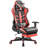 Homall Gaming Chair Ergonomic High-Back Racing Chair Pu Leather Bucket Seat,Computer Swivel Office Chair Headrest and Lumbar Support Executive Desk Chair with Footrest (Black/red)