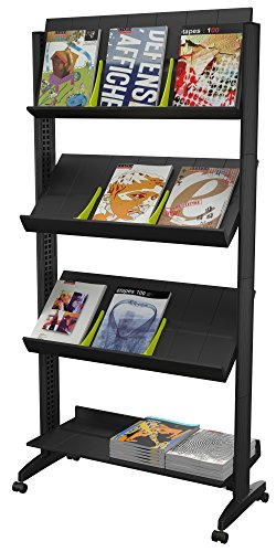 PaperFlow 66 x 33.67 x 15.17 Inches XL Mobile Literature Display, Single Sided, 4 Shelves, Black (UPP3.01) ()
