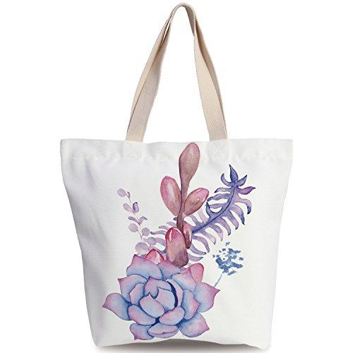 Personalized Canvas Tote Bag,Succulent,Exotic Corsage Wedding Bouquet Design Bohemian Retro Nature Watercolors Decorative,Lilac Pink Lavender,Canvas Shopping bag,shoulder handbags,Shoulder Bag (Purse Corsage Pinks)