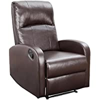 Devoko Adjustable Single Recliner Chair Manual Modern Living Room Sofa Padded Cushion Home Theater Seating (Brown)