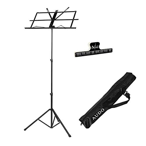 Case Music Book - Audo Folding Music Stand with Music Book Clip and Music Stand Carry Bag Black