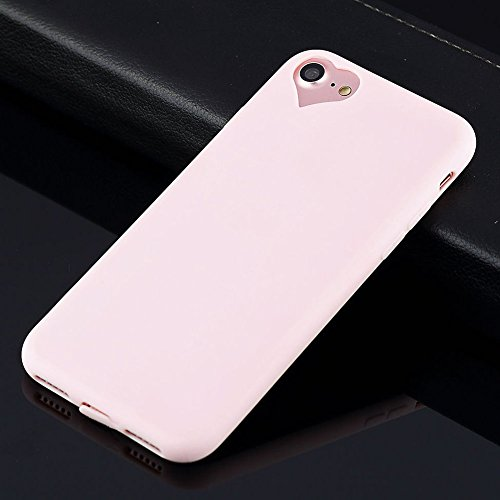 Apple iPhone 8 Case, iPhone 7 Case Cute Love Heart Hole Rubber Gel TPU Slim Soft Phone Case Cover for Apple iPhone 8 7 (Light Pink, for iPhone 8 7 4.7