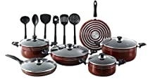 Major-Q/SEEMANN 17 Piece X-Large Nonstick Pots and Pans Kitchen Cookware Gift Set with Cooking Utensils, Dark RED