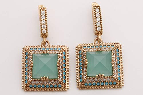 Turkish Handmade Jewelry Square Shape Princess Cut Aquamarine and Round Cut Turquoise Topaz 925 Sterling Silver Drop/Dangle Earrings