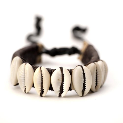 81stgeneration Men's Women's Leather Cowrie Shell Beads Tribal Adjustable Wristband Bracelet