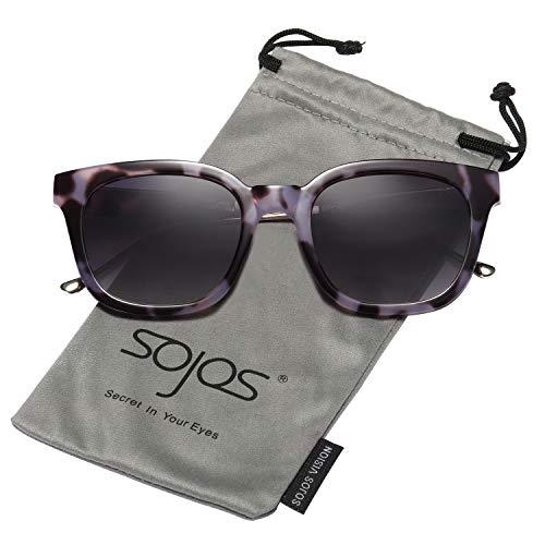 SOJOS Classic Polarized Sunglasses for Women Men Mirrored Lens SJ2050 (2050C03 Black Pattern Frame/Grey Polarized Lens, Multicoloured) from SOJOS