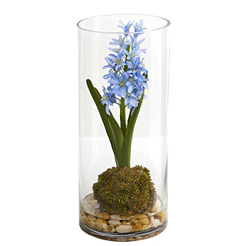 Nearly Natural 1631 14 in. Hyacinth and Sedum Artificial Silk Arrangements Blue