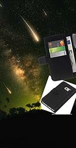 """A-type (Estrellas fugaces"""") Colorida Impresión Funda Cuero Monedero Caja Bolsa Cubierta Caja Piel Card Slots Para Samsung Galaxy S6 EDGE (NOT S6)"""